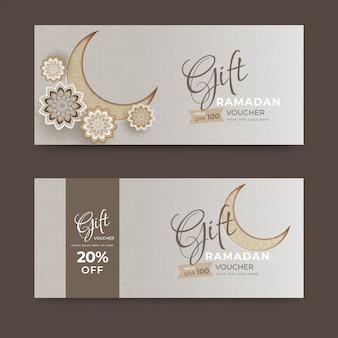 Vale-presente ou coleção de layout de cupom com lua crescente e