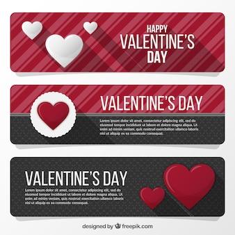 Valentim bonitos banners dia