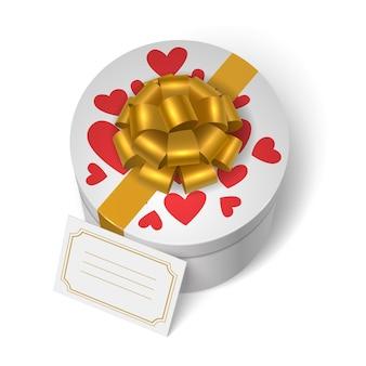 Valentim caixa presente com corações vermelhos