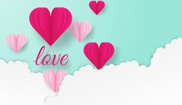 Valentim felizes projeto com texto do amor e corações que voam no fundo pastel verde.