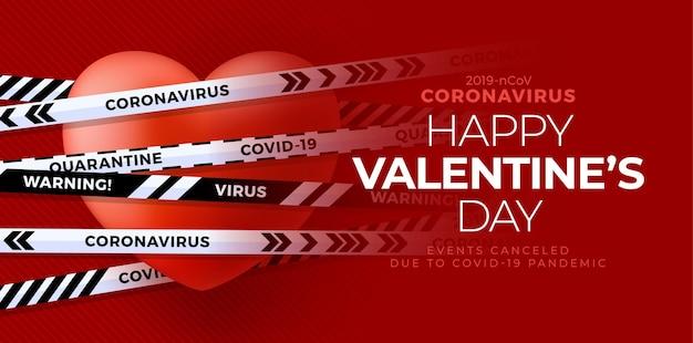 Valentim vermelho amor coração e fitas brancas e pretas. coronavirus covid e conceito cancelado do dia dos namorados