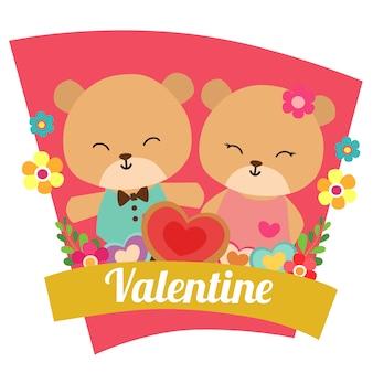 Valentine amor com casal de panda