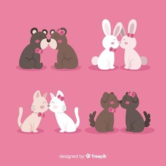 Valentine beijando a coleção de animais do casal