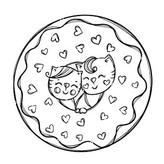 Valentine donut gatinhos fofos enfiou a cabeça em donut sweet holiday cartoon monocromático desenhado à mão