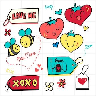 Valentine doodle, love tag e ícone romântico