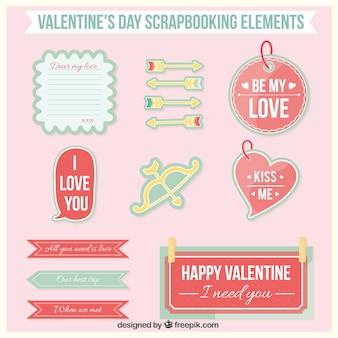 Valentine elementos dia scrapbooking