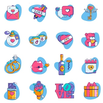 Valentine icon set elements