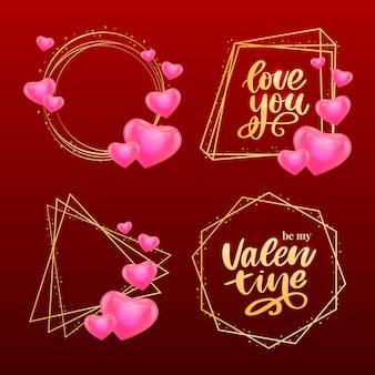 Valentine poster, card, banner letter slogan elementos do vetor para elementos de design do dia dos namorados. coração amor tipografia