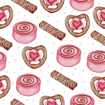 Valentine seamless pattern aquarela