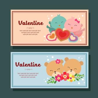 Valentine season season banner horizontal casal pássaro