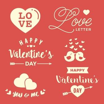 Valentines day illustrations e tipografia elements
