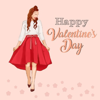 Valentines dia fashion ilustration red outfit