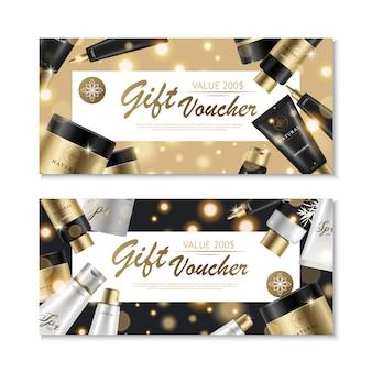 Vales cosméticos conjunto com imagens de produtos de beleza de projeto de cartão de presente e coleção de marca de luxo