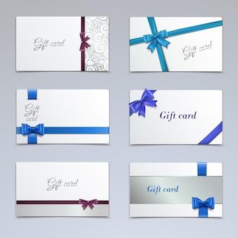 Vales de cartões de presente elegante modelo de certificados de fita de papel conjunto ilustração vetorial isolado