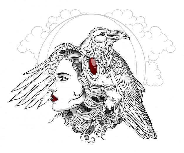 Valkyrie girl com um grande corvo preto