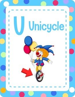 Valphabet flashcard com a letra u para monociclo Vetor grátis