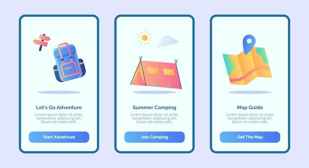 Vamos aventura verão acampamento mapa guia para aplicativos móveis modelo de página de banner ui com três variações de estilo moderno de cor plana
