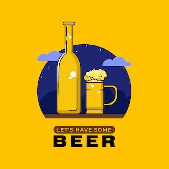 Vamos beber um pouco de cerveja. ilustração para bar.
