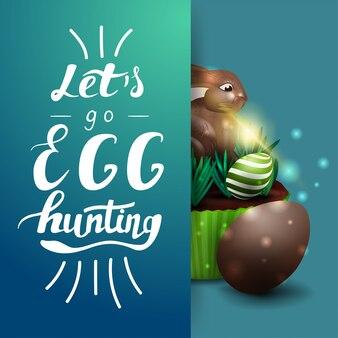 Vamos caça de ovos, modelo de cartão postal azul com letras