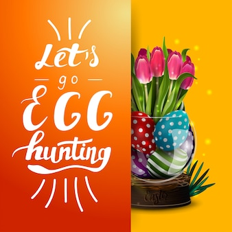 Vamos caça de ovos, modelo de cartão postal laranja