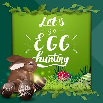 Vamos caça de ovos, modelo de cartão postal verde com letras