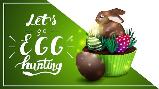 Vamos caçar ovos, modelo de cartão postal com letras