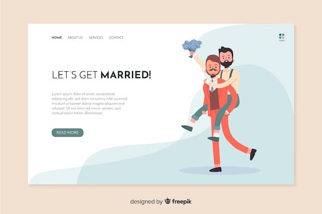 Vamos casar página de destino do casamento