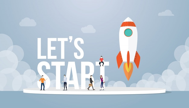 Vamos começar o conceito de grandes palavras com pessoas de equipe e negócios de lançamento de inicialização de foguete