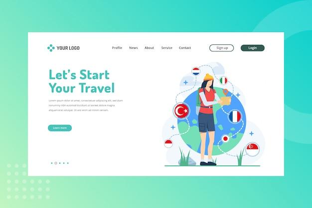 Vamos começar sua ilustração de viagem para o conceito de viagem na página de destino