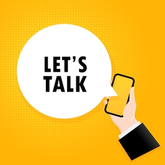 Vamos conversar. smartphone com um texto de bolha. cartaz com o texto vamos conversar. estilo retrô em quadrinhos. bolha do discurso do app do telefone.