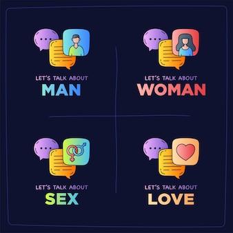 Vamos falar sobre bolhas de diálogo de ilustração de doodle de amor