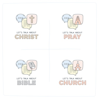 Vamos falar sobre bolhas de diálogo de ilustração de doodle de igreja
