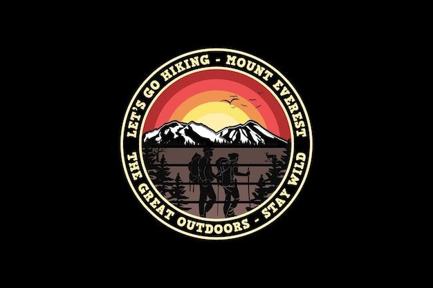 Vamos fazer uma caminhada no monte everest, estilo retro da silhueta do projeto de aventura.