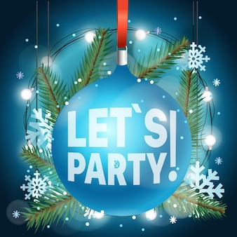Vamos festejar. anúncio da festa de feliz natal e feliz ano novo