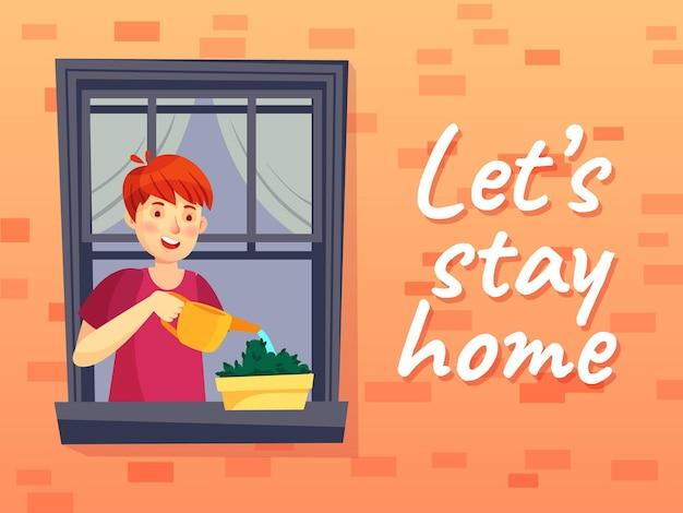 Vamos ficar em casa ilustração. homem em quarentena coronavírus, janela, planta de rega de personagem