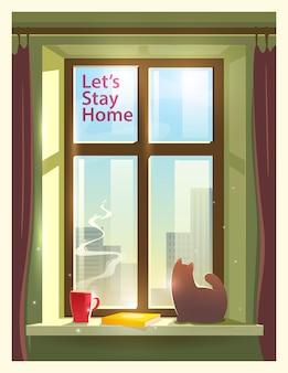 Vamos ficar em casa. ilustração sobre o tema: auto-isolamento, coronavírus, quarentena, epidemia, covid-19.