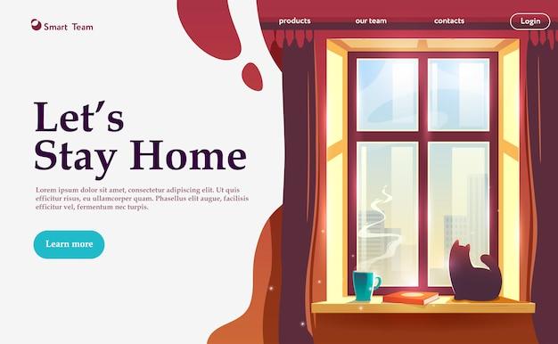 Vamos ficar em casa. ilustração sobre o tema: auto-isolamento, coronavírus, quarentena, epidemia, covid-19. Vetor Premium