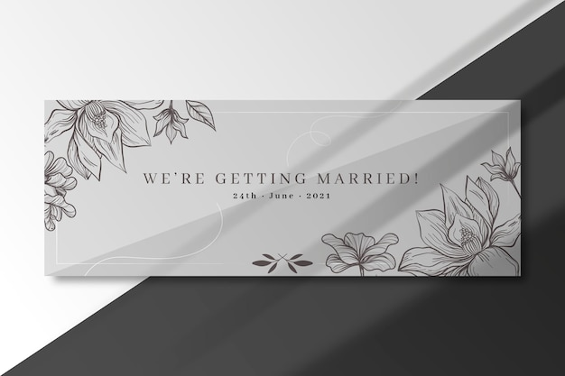 Vamos nos casar com modelo de banner de prata