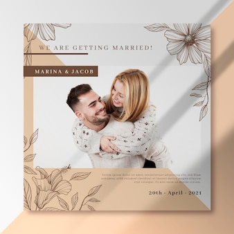Vamos nos casar com um jovem casal flyer quadrado