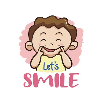 Vamos sorrir! com vetor de personagem de criança