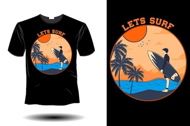 Vamos surfar maquete retro vintage design