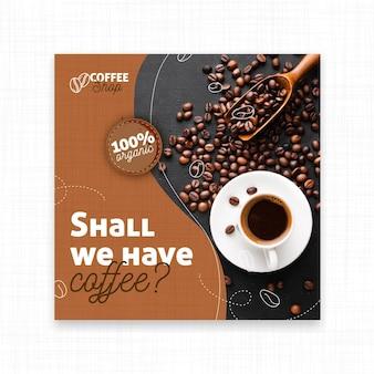 Vamos tomar café panfleto quadrado