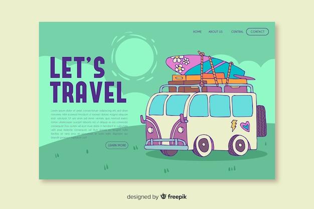 Vamos viajar na página de destino com ilustração