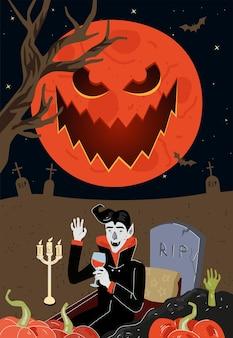 Vampiro bebe sangue no túmulo perto da lápide de rasgo no cemitério da noite ao luar feliz feriado de halloween