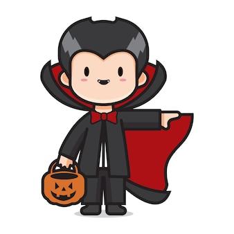 Vampiro bonito do traje de halloween