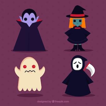 Vampiro, bruxa, fantasma e morte em design plano