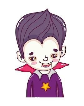 Vampiro de menino com dentes e terno gótico