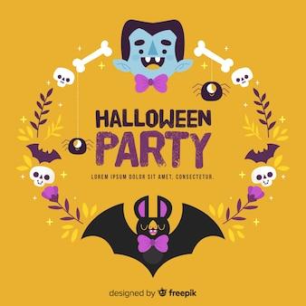 Vampiro drácula e morcego com gravata borboleta