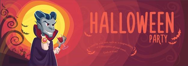 Vampiro drácula para banner de halloween