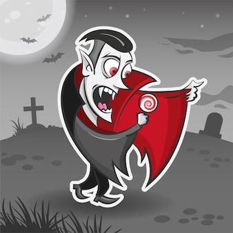 Vampiro drácula personagem de desenho animado adesivo de ilustração vetorial de monstro de halloween adesivo de ilustração vetorial